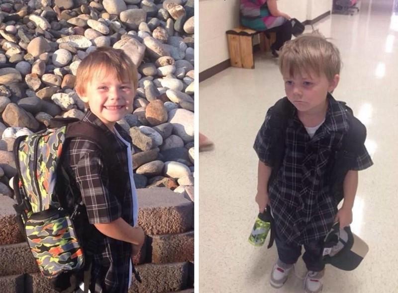 18 забавных фото детей до и после их первого для в школе