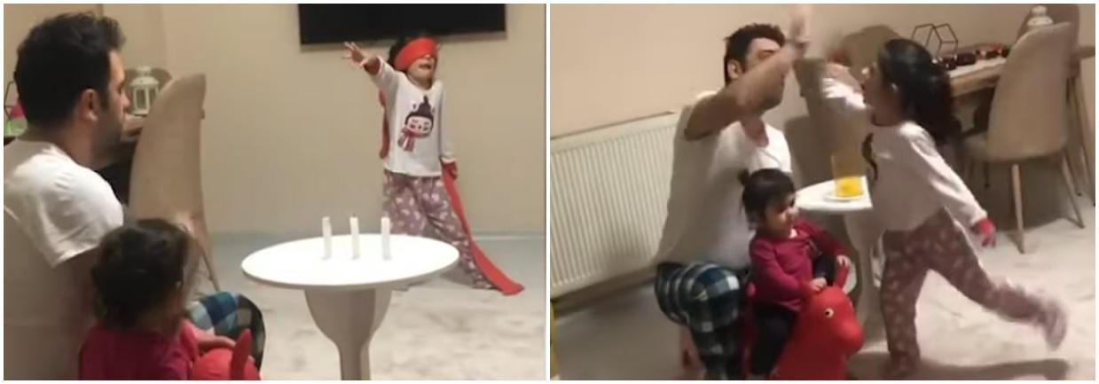 Папа очень мило помогает своей доченьке делать фокусы