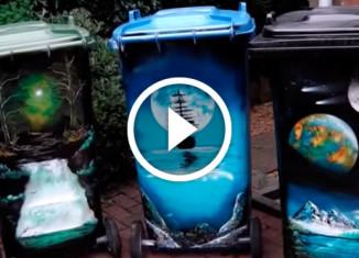 Картины на контейнерах для мусора