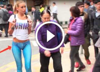 Девушка гуляет в нарисованных штанах