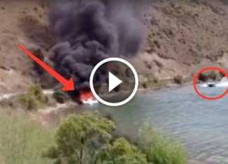 Лодка горит