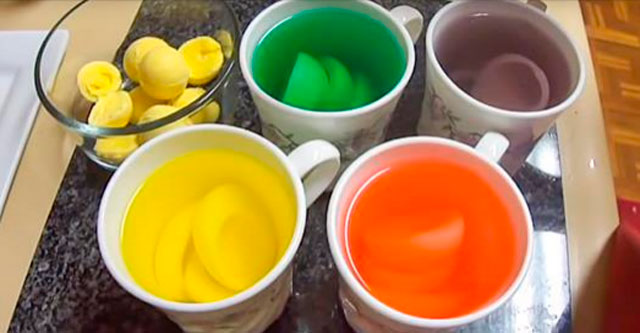 Цветные яйца на пасху
