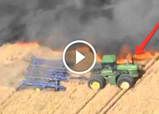 Тракторист спасает урожай