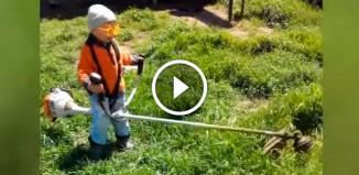 Мальчик косит траву