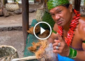 Полинезиец добывает огонь